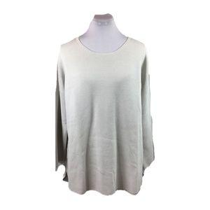 Eileen Fisher Sz XL gray silk cotton knit pullover